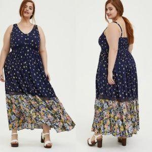 TORRID Navy Floral Print Challis Maxi Dress NWT